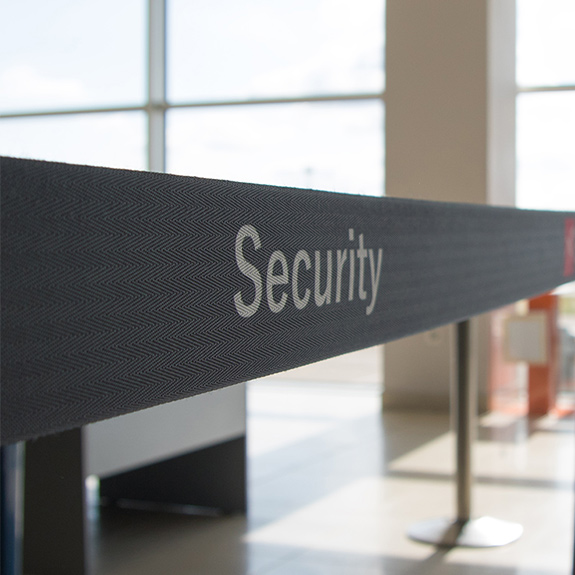 Woman in a security check point